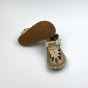 Baby Bare Shoes Summer Perforation Gold Sohle