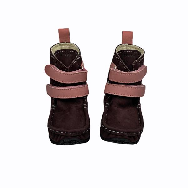 Tildaleins-Shop-zeazoo-winterbarfussschuhe-yeti-brown-pink-vorne