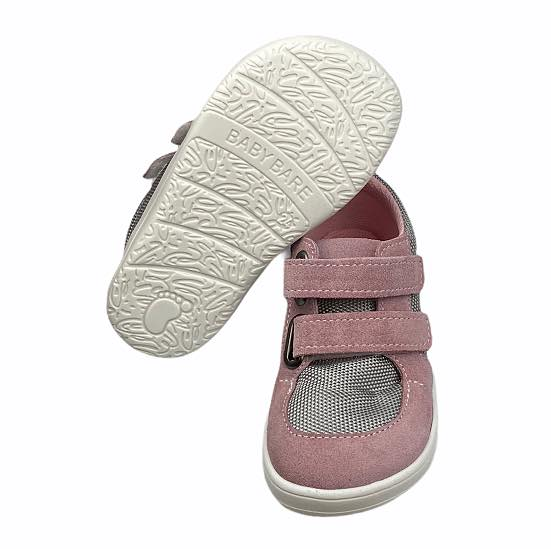 Baby Bare Shoes Barfußsneakers Grau Rosa Sohle