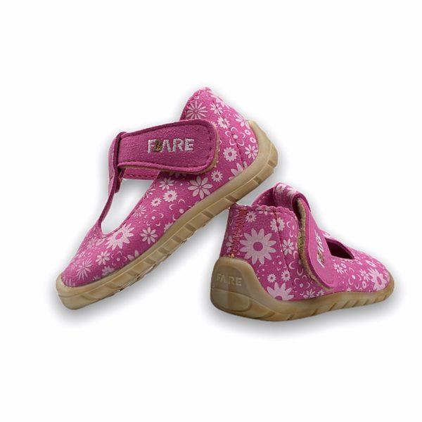 Fare Bare Erste Sandalen Barfußschuhe Rosa Blümchen Hinten