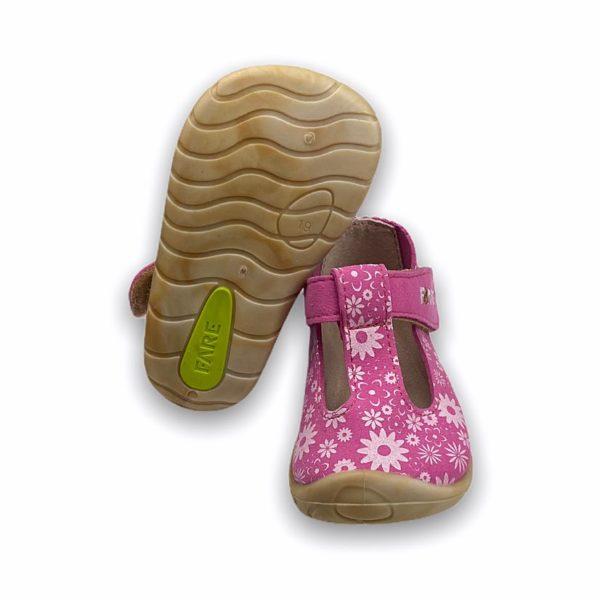 Fare Bare Erste Sandalen Barfußschuhe Rosa Blümchen Sohle