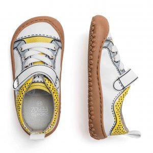 Zapato Feroz Paterna Rocker Comic Gelb Grau Oben