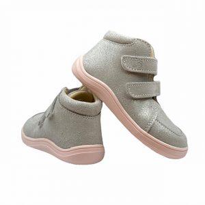 Baby Bare Shoes Barfußschuhe Febo Fall Grau Pink Hinten